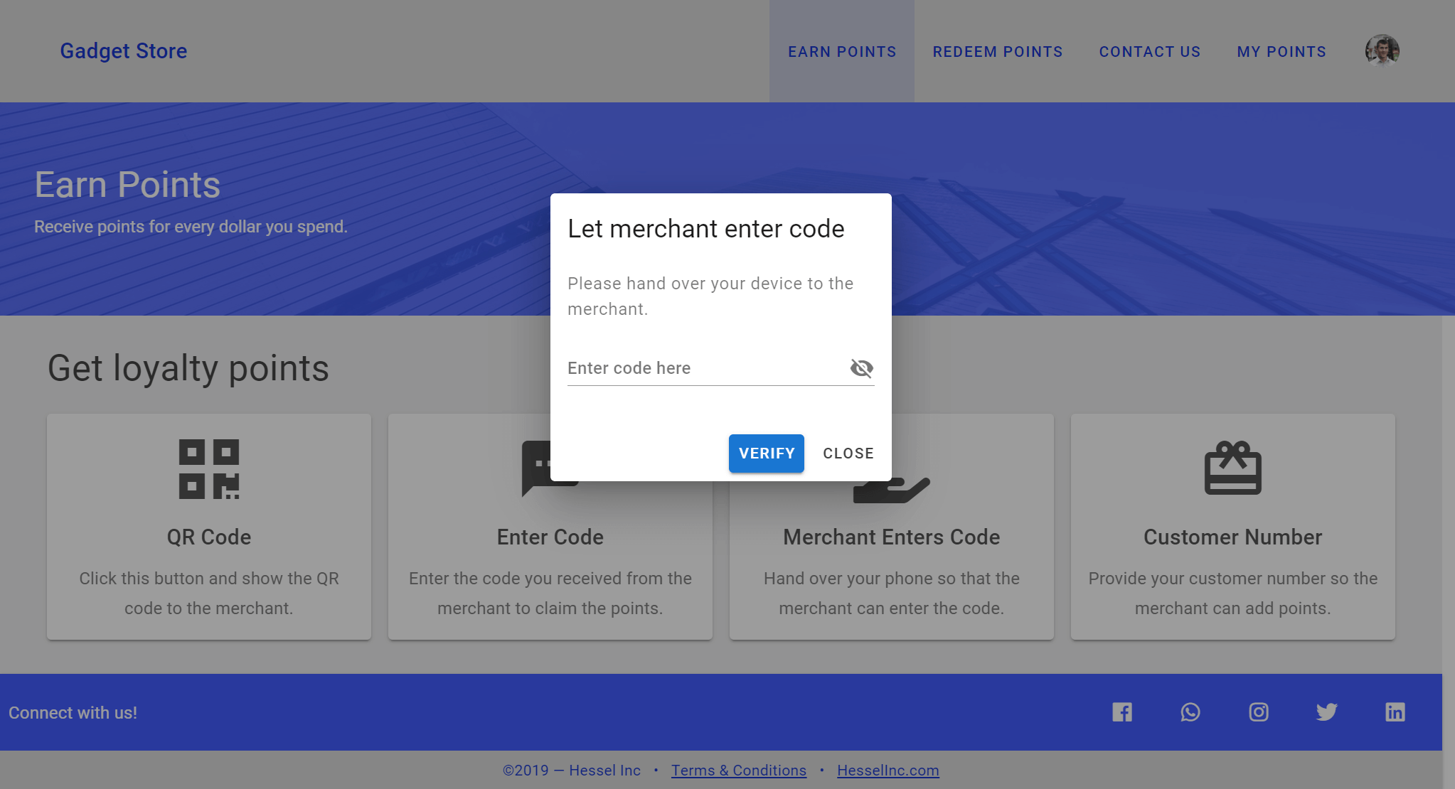 Customer - Earn Points - Merchant Enters Code